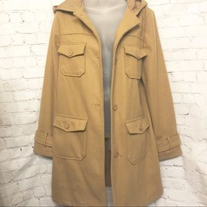 OLD NAVY WOOL BLEND CAMEL TRENCH COAT SIZE LARGE